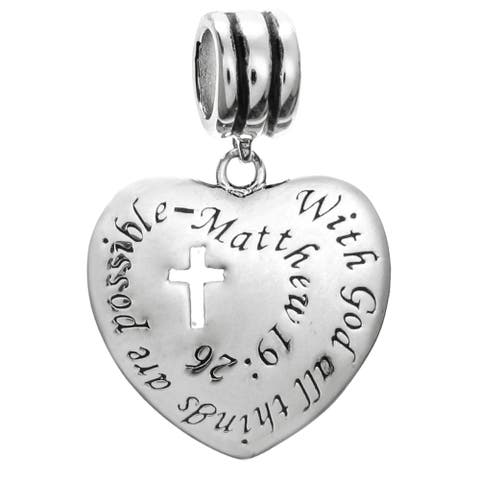Sterling Silver 'With God All Things Are Possible' European Bead Charm