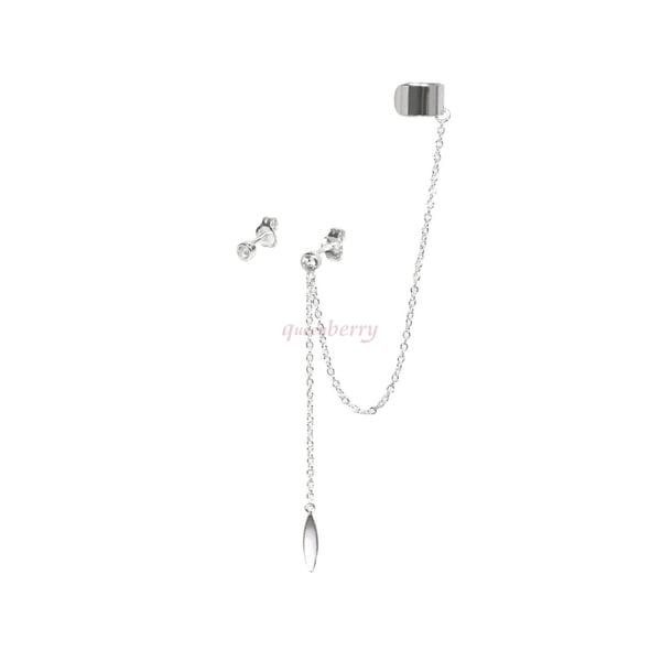 Queenberry Sterling Silver Cz Earrings With Dangle Chain Ear Cuff
