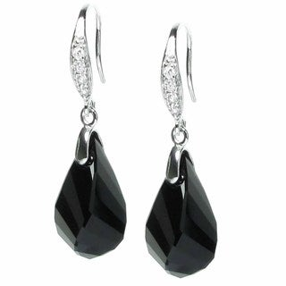 Queenberry Rhodium-plated Sterling SilverJet Black Crystal Teardrop Dangle Earrings