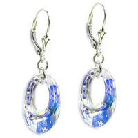 Queenberry Sterling Silver Crystal Dangle Earrings