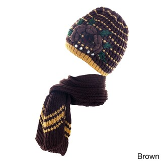 Kate Marie Women's Knitted Studded Beanie with Scarf (2 options available)
