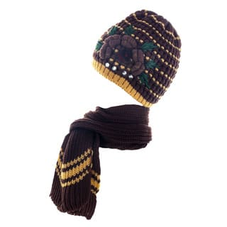 Kate Marie Women's Knitted Studded Beanie with Scarf|https://ak1.ostkcdn.com/images/products/10904184/P17936798.jpg?impolicy=medium