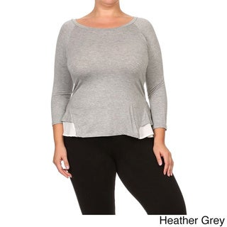 MOA Collection Women's Plus Size Long Sleeve Top with Contrast Ruffle Hem