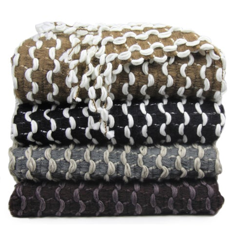 Chic Home Vivien Two-tone Chenille Finished Acrylic Throw Blanket with Ribbon Insertion