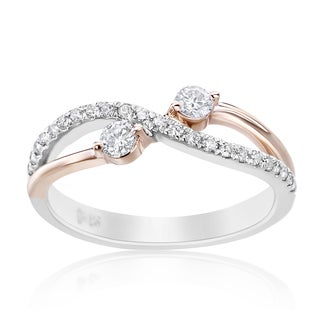 SummerRose 14k Two-tone Gold 1/3ct TDW Forever 2 Two-stone Diamond Ring (H-I, SI1-SI2)