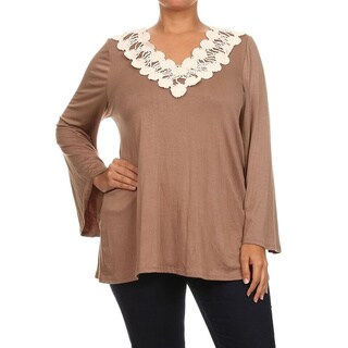 MOA Collection Women's Plus Size Crochet Trim Tunic