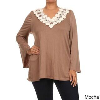 MOA Collection Women's Plus Size Crochet Trim Tunic