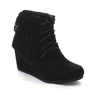 Beston CB50 Women's Wedge Heel Mocassin Fringe Lace Up Ankle Booties