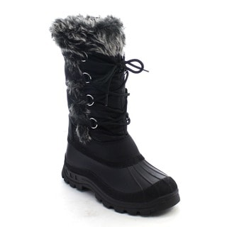Beston CB38 Women's Lace-up Deco Side-zipper Mid-calf Snow Boots