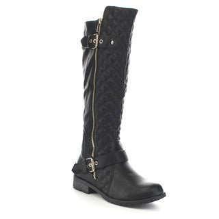 Beston GA83 Women's Knee High Quilted Deco Zipper Boots