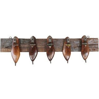 Wanderloot Cobbler Wall Rack with Wooden Shoe Forms and 5 Hooks (India)