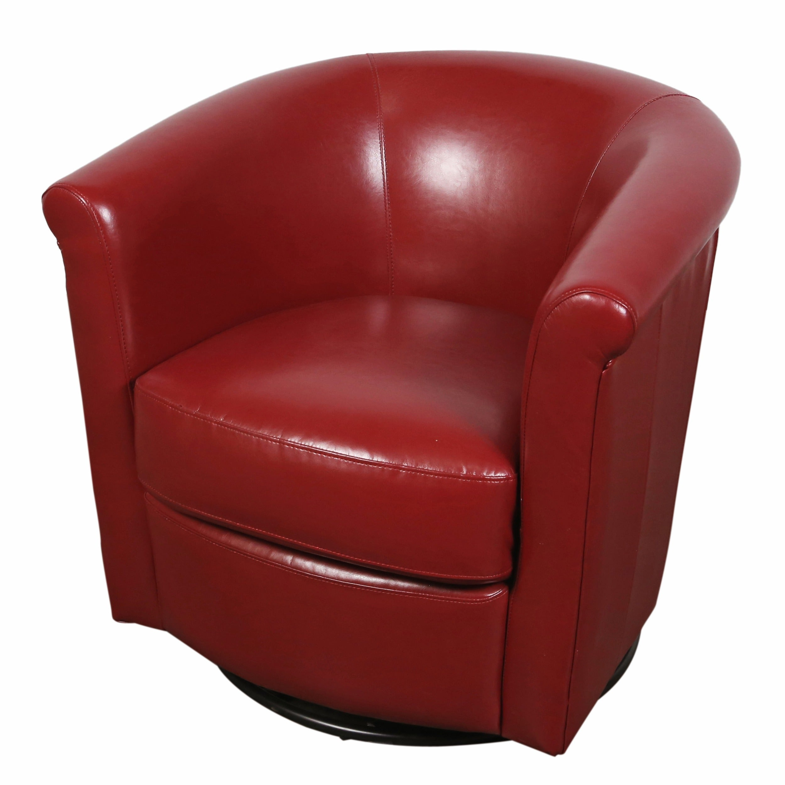 Porter Marvel Red Swivel Barrel Accent Chair (Red) (Faux ...