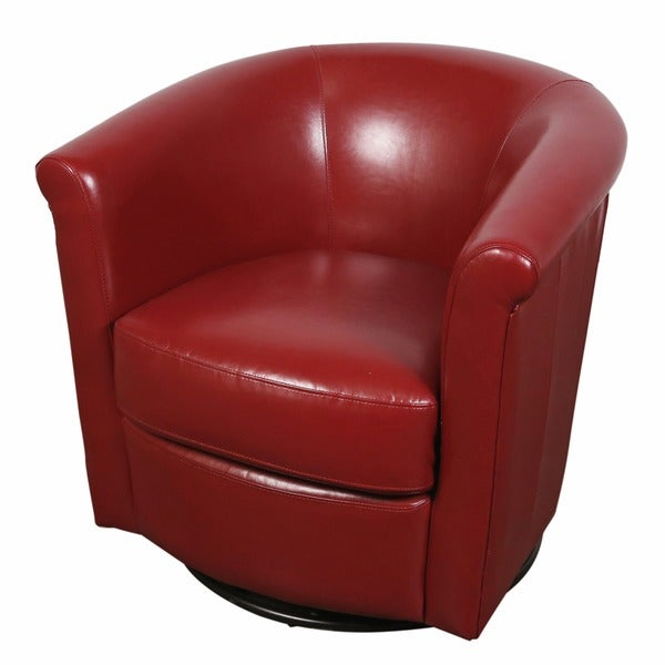 Shop Porter Marvel Red Swivel Barrel Accent Chair Free