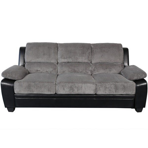 Genial Sitswell Harvey Black And Grey Faux Leather And Corduroy Sofa