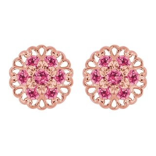 Lucia Costin Yellow Goldplated Sterling Silver Pink Crystal Earrings