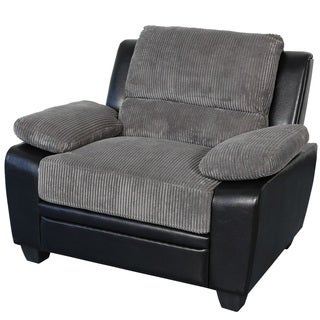 Sitswell Harvey Black and Grey Faux Leather and Corduroy Chair