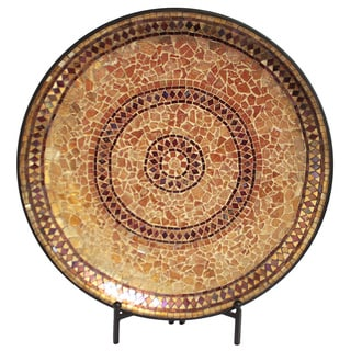 Casa Cortes Handcrafted Gold Mosaic Decorative Charger Plate and Stand