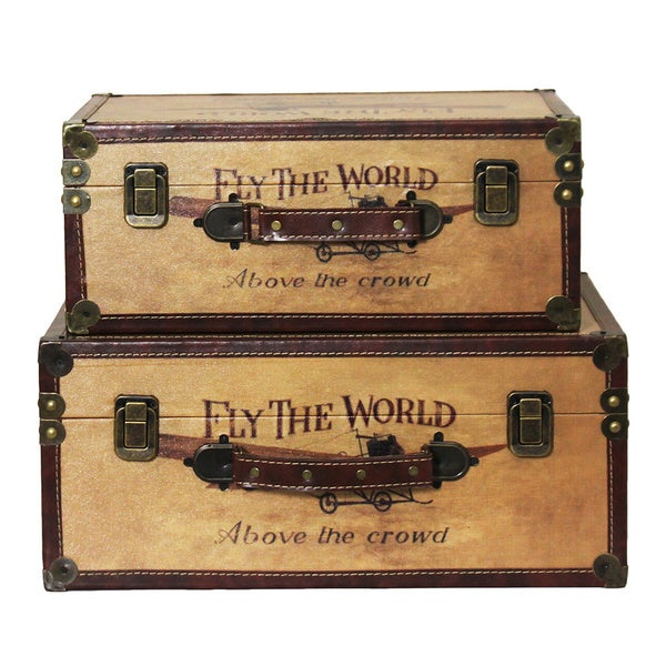 Handcrafted Vintage Decorative Wood Storage Boxes (Set Of 2)