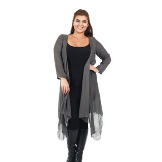 Firmiana Women's Plus Size Long Sleeve Open Duster