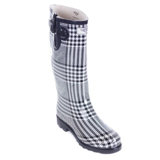 Women's Mid-Calf Black White Plaid Rubber Rain Boots