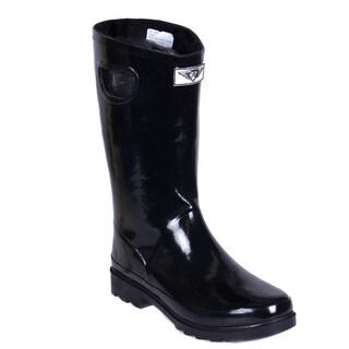 Women's Short Black Faux Fur Lining Rubber Rain Boots