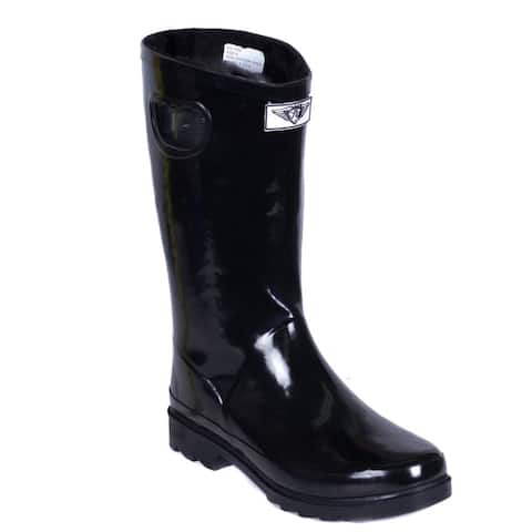 Women's Short Black Faux Fur Lining Rubber Rain Boots