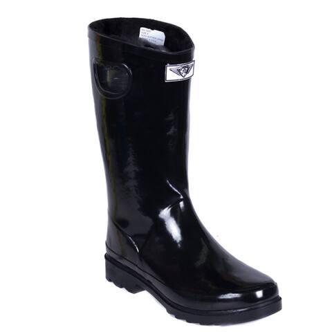 Womens Short Black Faux Fur Lining Rubber Rain Boots