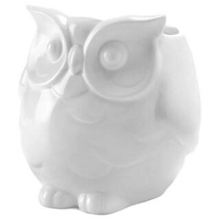 Smiling White Porcelain Owl Vase