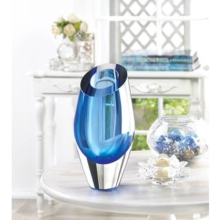 Angled Blue Glass Vase