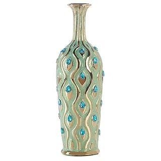 Golden Accent Peacock Medium Jewel Vase