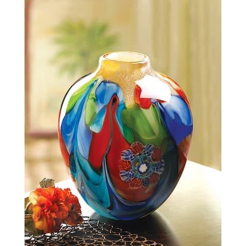 Porch & Den Swirling Color and Floral Art Glass Vase