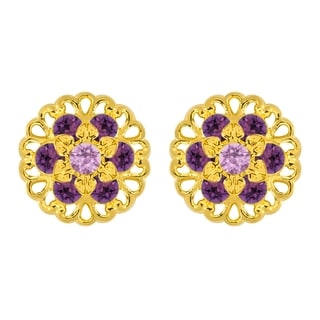 Lucia Costin Sterling Silver Violet/ Lilac Crystal Earrings