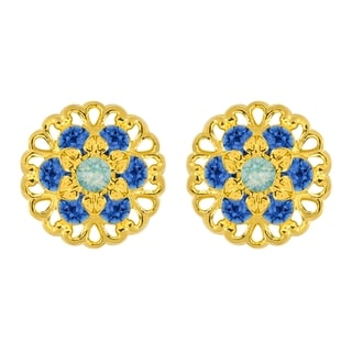 Lucia Costin Yellow Goldplated Sterling Silver Blue/ Mint Blue Crystal Earrings