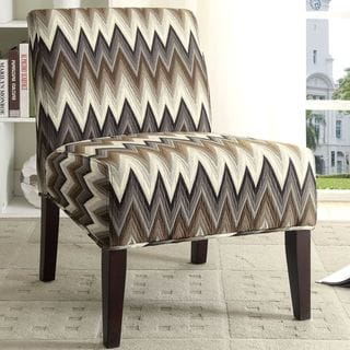 Passaic Brown Chevron Pattern Design Slipper Style Accent Chair