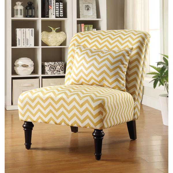 Living Room Chevron Print Yellow Armless Accent Chair