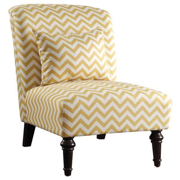 Wondrous Living Room Chevron Print Yellow Armless Accent Chair Machost Co Dining Chair Design Ideas Machostcouk