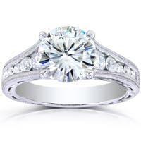 Annello by Kobelli 14k White Gold 1 2/5ct TGW Forever One DEF Moissanite and Diamond Channel Milgrain Vintage Engagement Ring