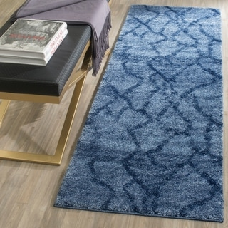 Safavieh Retro Modern Abstract Blue/ Dark Blue Rug (2'3 x 9')