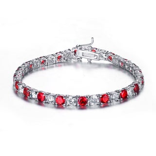 Collette Z Sterling Silver and Red Cubic Zirconia Fashion Bracelet