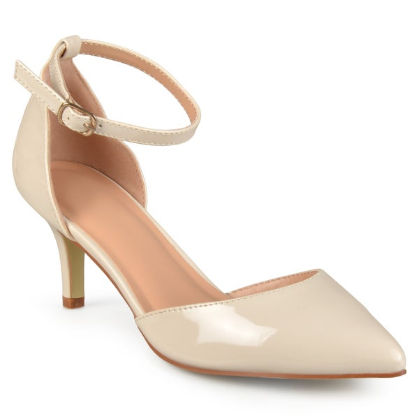 Journee Collection Women's Bay Patent Faux Leather Ankle Strap Pumps