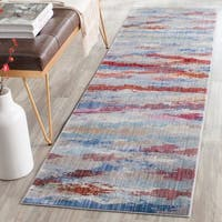 Safavieh Valencia Multi Abstract Watercolor Distressed Silky Polyester Runner (2' 3 x 8')