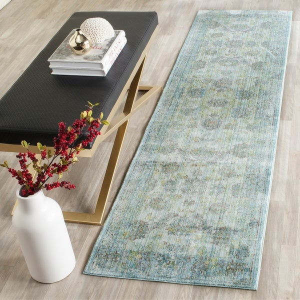 Safavieh Valencia Light Blue/ Turquoise Distressed Silky Polyester Rug - 2'3 x 8
