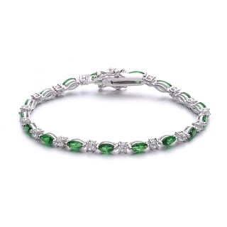 Collette Z Sterling Silver and Green Cubic Zirconia Fashion Bracelet