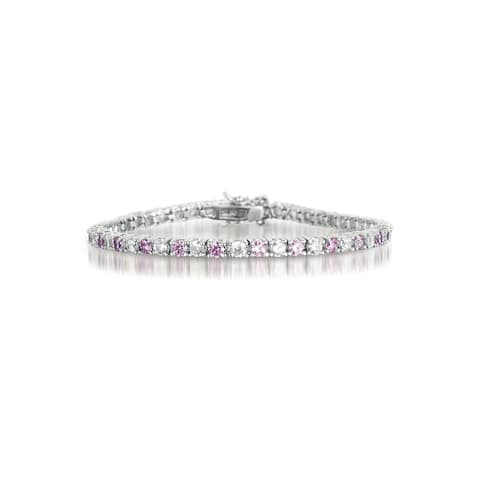 Collette Z Sterling Silver and Pink Cubic Zirconia Fashion Bracelet