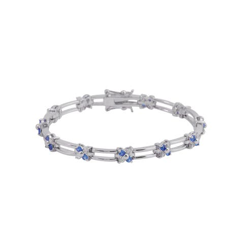 Collette Z Sterling Silver with Rhodium Plated Blue and Clear Round Cubic Zirconia Two Strand Bracelet