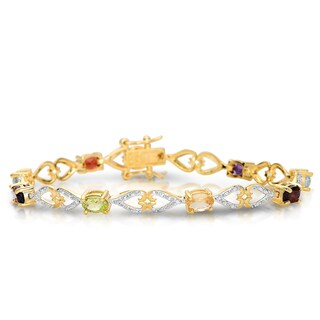 Collette Z Gold Plated Multi-Colored Link Bracelet