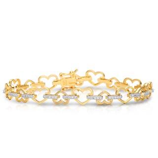 Collette Z Gold Plated and Cubic Zirconia Petal Bracelet