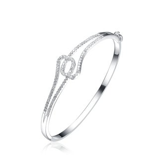 Collette Z Sterling Silver Cubic Zirconia Infinity Bracelet - White