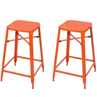 Adeco Metal Stackable Square Top Backless Barstools (Set of 2)