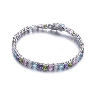 Collette Z Sterling Silver Colorful Cubic Zirconia Tennis Bracelet